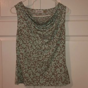 Calvin Klein blouse with blue flowers/leaves